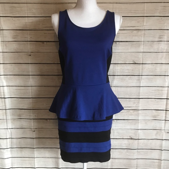 Express Dresses & Skirts - Express Blue and Black Peplum Top/Bandage Skirt